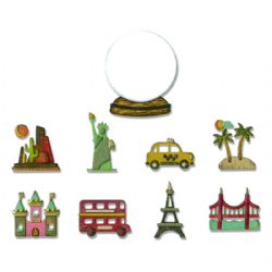 664182 Sizzix Thinlits Die Set 10PK - Tiny Travel Globe by Tim Holtz
